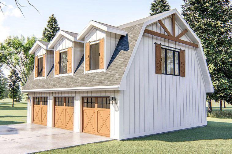 Two Story 1 Bedroom Modern Barn Like Garage Apartment Floor Plan In 2020 Garage Apartment Floor Plans Barn House Plans Garage House Plans