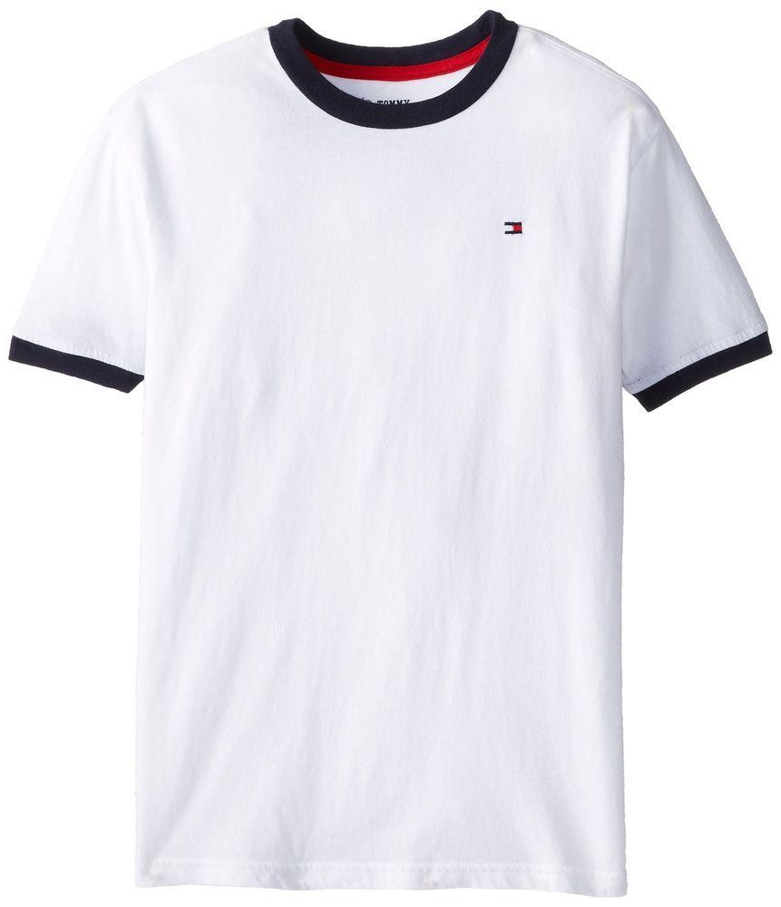 crew neck short sleeve flag logo ringer tee Tommy Hilfiger T Shirt in White