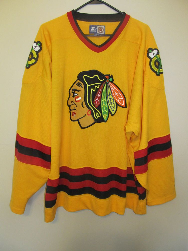 Vintage 90 S Chicago Blackhawks Yellow Hockey Jersey Starter 2xl Hockey Clothes Hockey Jersey Chicago Blackhawks