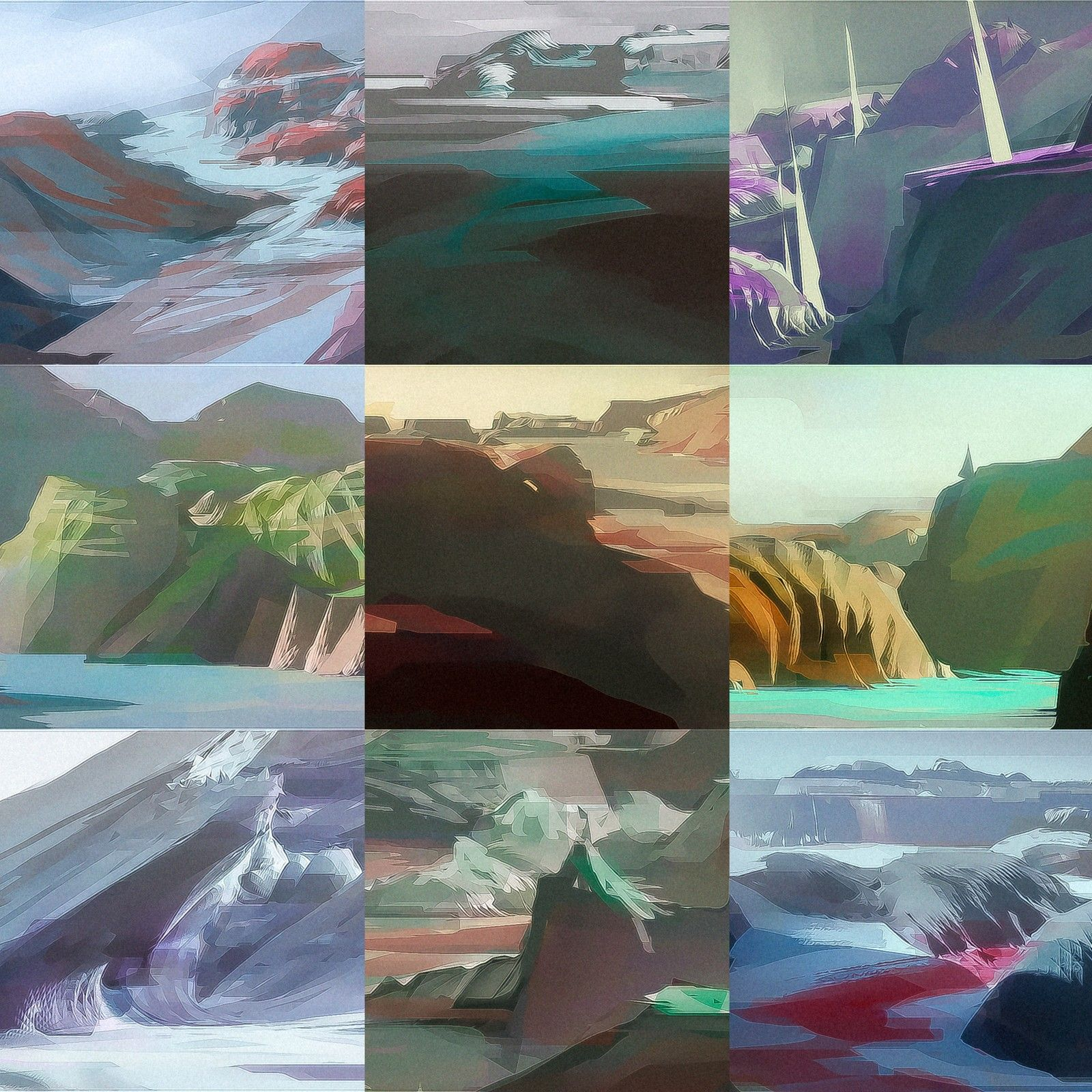 Muted Colors Environment Thumbnails, Stéphane (Wootha) Richard on ArtStation at https://www.artstation.com/artwork/d3gb1
