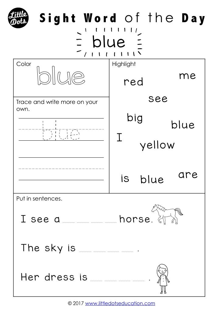 Free Dolch sight words worksheets for pre-k or pre-primer level. By ...