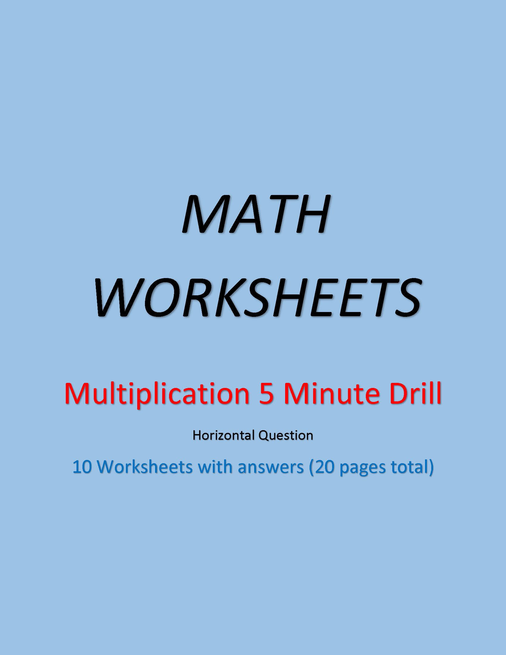 Multiplication 5 Minute Drill Worksheets With Answers Pdf Etsy Math Worksheets Math Addition Worksheets First Grade Math Worksheets