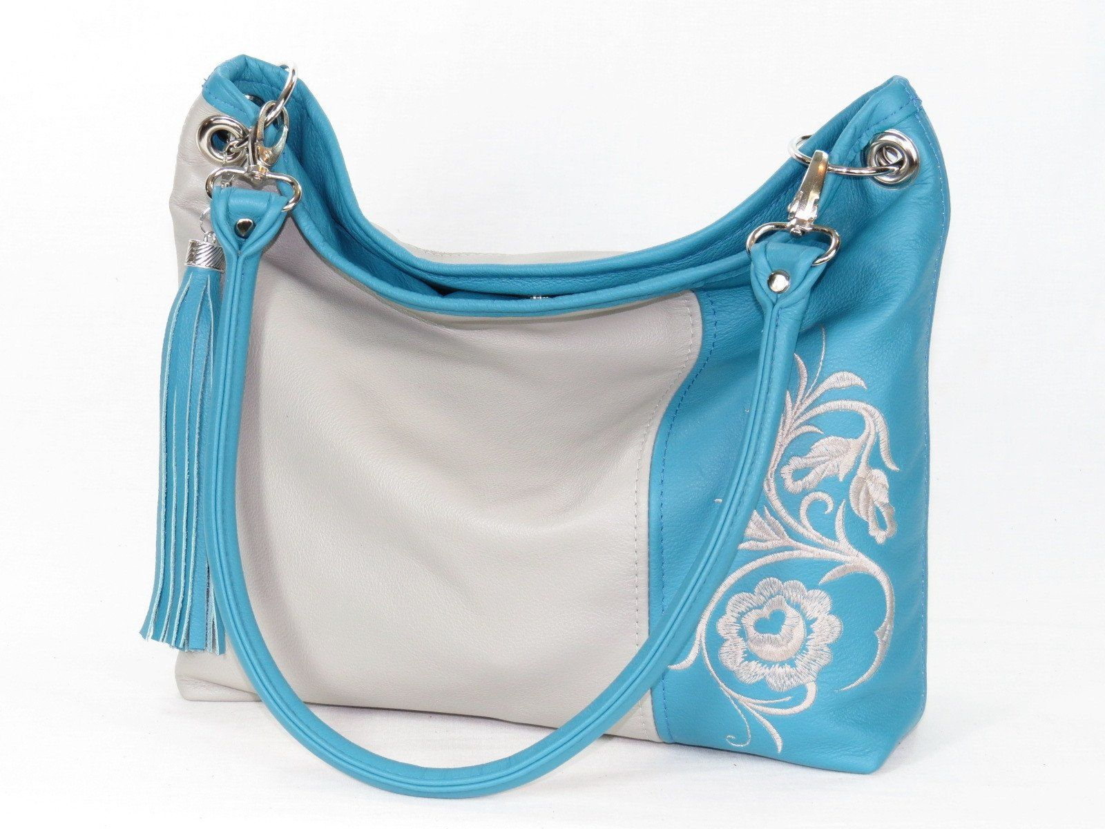 a4f69cc87a Turquoise and Gray Slouchy Hobo Leather Bag. The Turquoise and Gray of the  Slouchy Collection features lovely turquoise and gray genuine leather hides  of ...