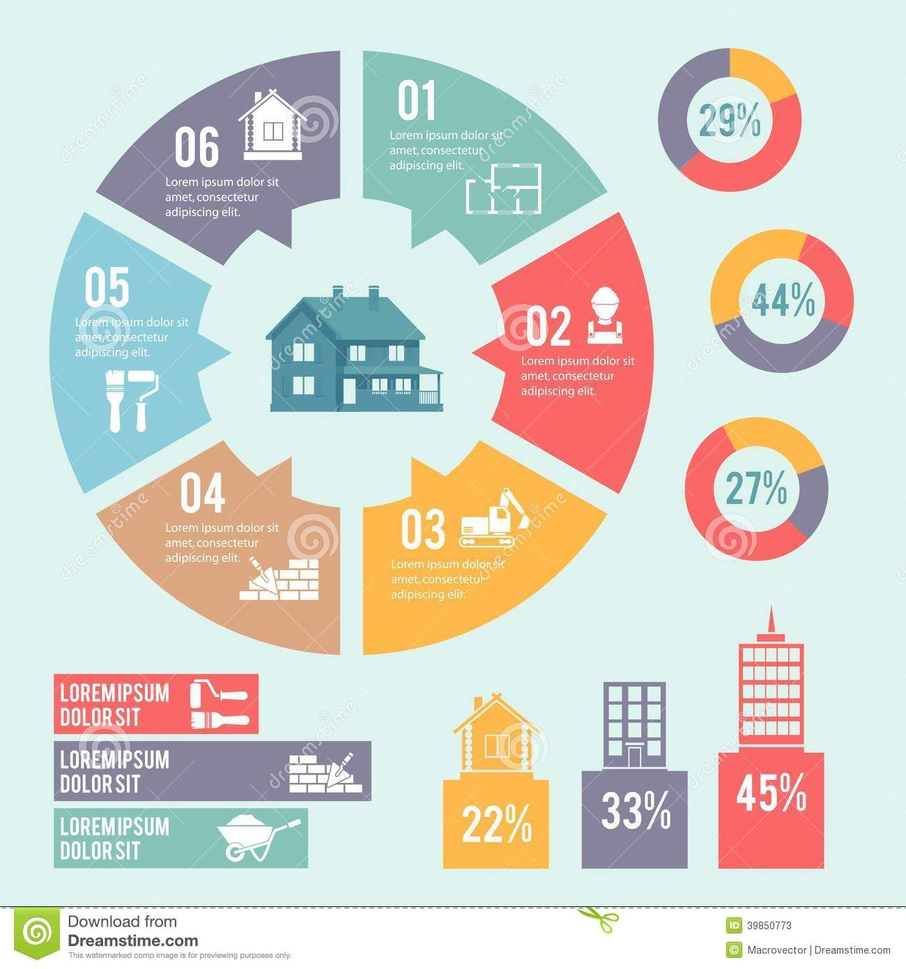construction-infographic-circle-diagram-engineering-building ...