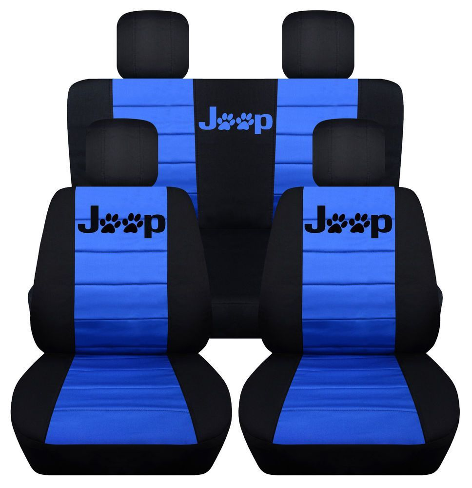 Front&Rear BlackMed Blue Seat covers Paw prints 2Door