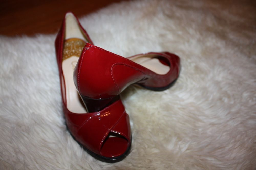 Cole Haan heels - red patent leather - peep toe