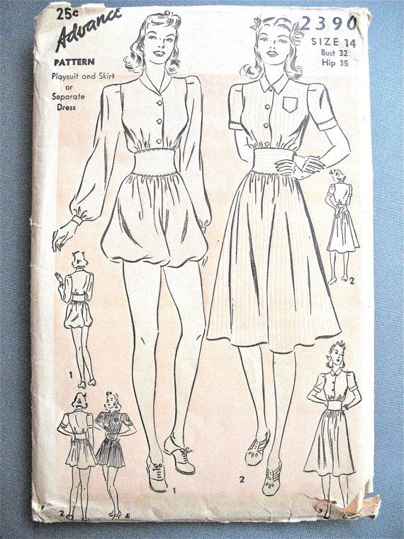 1940s Advance 2390 Playsuit and Skirt or Dress Vintage Sewing ...