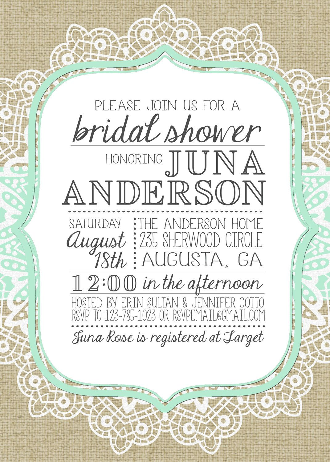 burlap and lace bridal shower invitation but for wedding invite