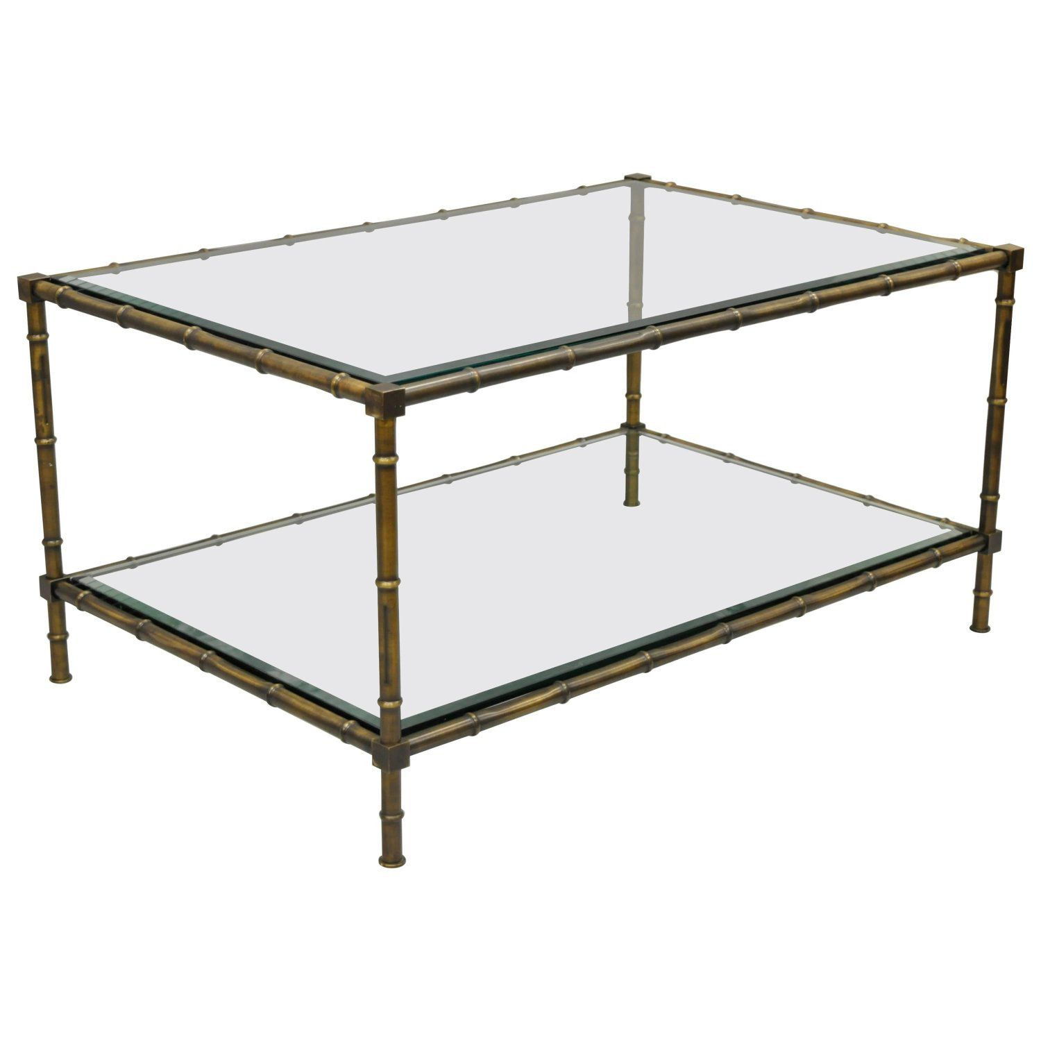 Brass And Glass Faux Bamboo Two Tier Coffee Table French Hollywood Regency Style Coffee Table Faux Bamboo Hollywood Regency Style [ 1500 x 1500 Pixel ]