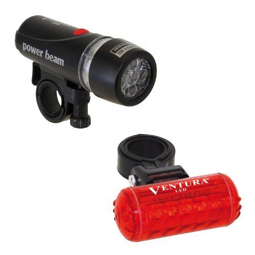 $14.00-$16.99 Ventura Bicycle Headlight and Taillight Combo - Make sure youre seen with the Ventura Bike Headlight/Taillight Combo. Featuring a bright headlight and taillight, youll definitely see where youre going, while remaining visible to motorists. The Ventura 5 LED Bicycle Headlight includes 5 white LED lights, 3 helpful functions, a quick release clip-on bracket, and an optical lens for fo ...