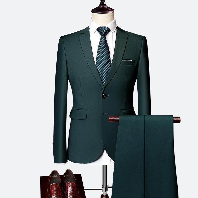 Dark Green Two Button Slim Fit Two Piece Suit Sets For Men Green Suit Men Suits Men Business Slim Fit Men