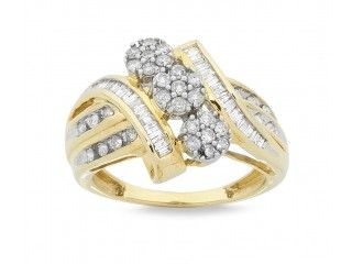 9ct Yellow Gold 0.75ct 3 Flowers Diamond Ring - #gold #diamonds #flower #floral #lucky3