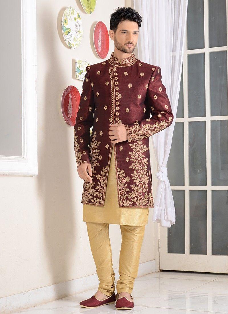 Wine Red Colored Sherwani For Groom Sherwani Western Suits Silk Brocade