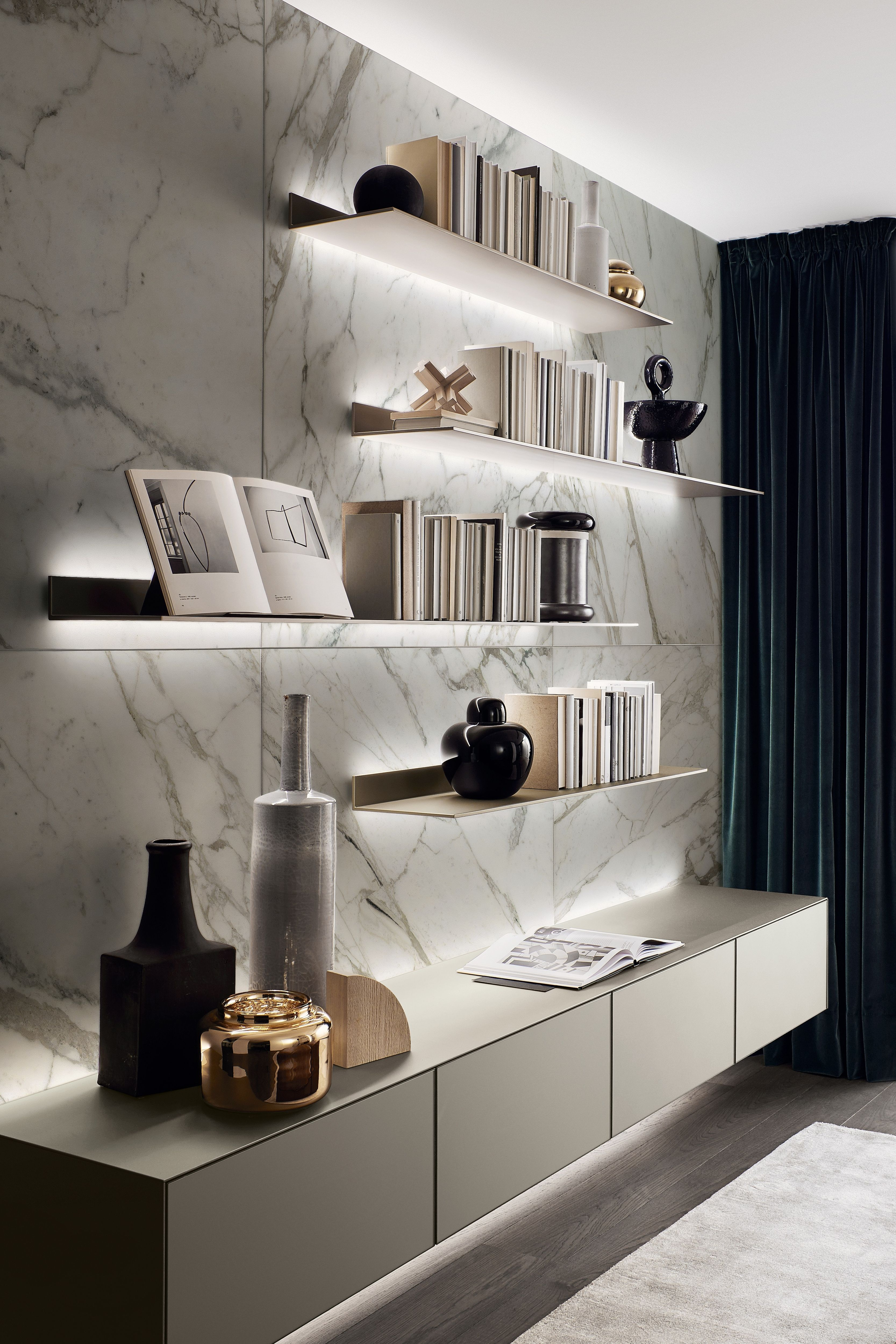 Concealed lighting behind the shelves and suspended cabinets, creates an illusion of weightlessness.  Please see link in bio to discover more. . . . . . #LuxuryInterior  #ContemporaryInteriors #floatingshelves #amazinginteriors #livingrooms #livingroominterior #dreaminterior  #modernlivingroom #luxurylivingroom #livingroomdesigns #luxurylivingrooms #londoninterior #christchurchdorset #sandbanks #londondesign