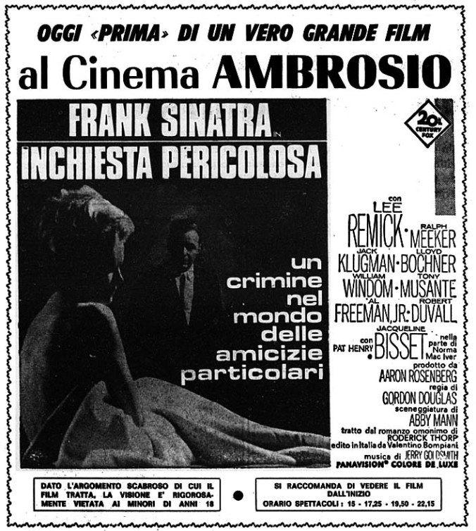 Inchiesta pericolosa (The Detective, 1968) di Gordon Douglas, con Frank Sinatra e Lee Remick. Italian release: October 17, 1968 #MoviePosters #FrankSinatra