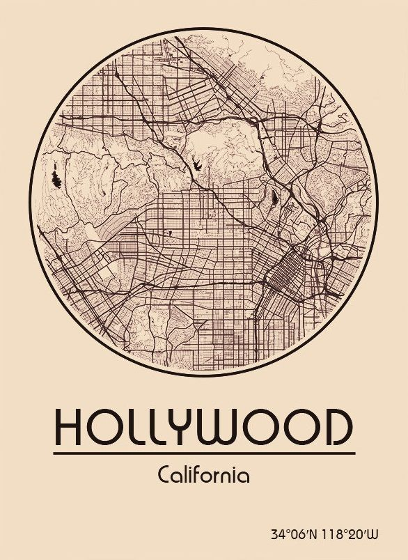 Karte / Map ~ Hollywood, Kalifornien / California - Vereinigte ...
