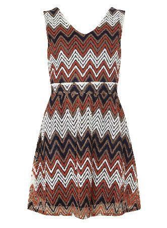 Womens Zigzag Stripe Lace Dress Mela RAM9W