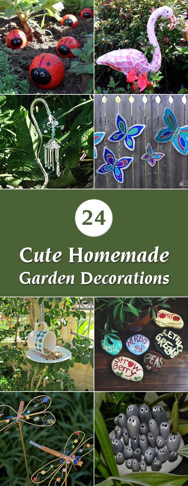 24 Cute Homemade Garden Decorations | Homemade garden ... on Handmade Diy Garden Decor  id=15112