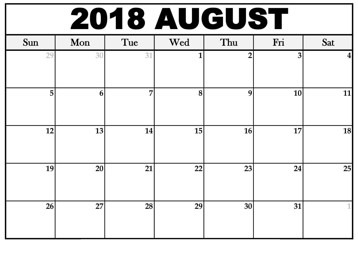 August 2018 Monthly Calendar Simple And Cute Free August 2018