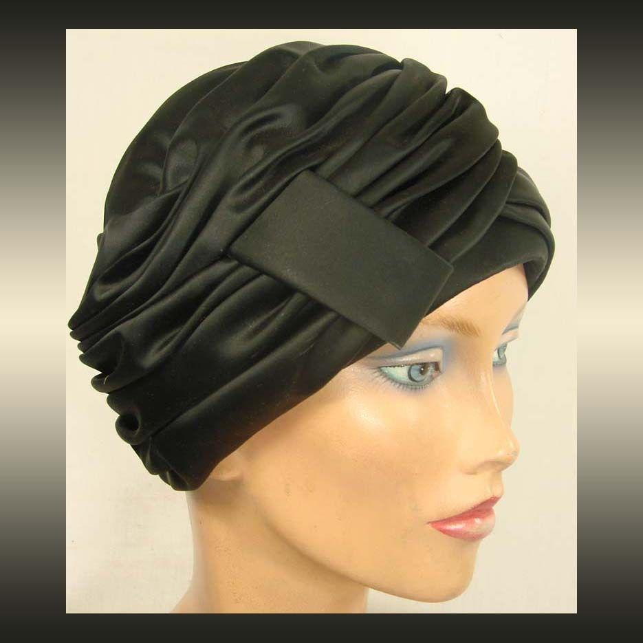 Schiaparelli Black Silk Turban Hat  millinery  judithm  hats  8bc71aba048