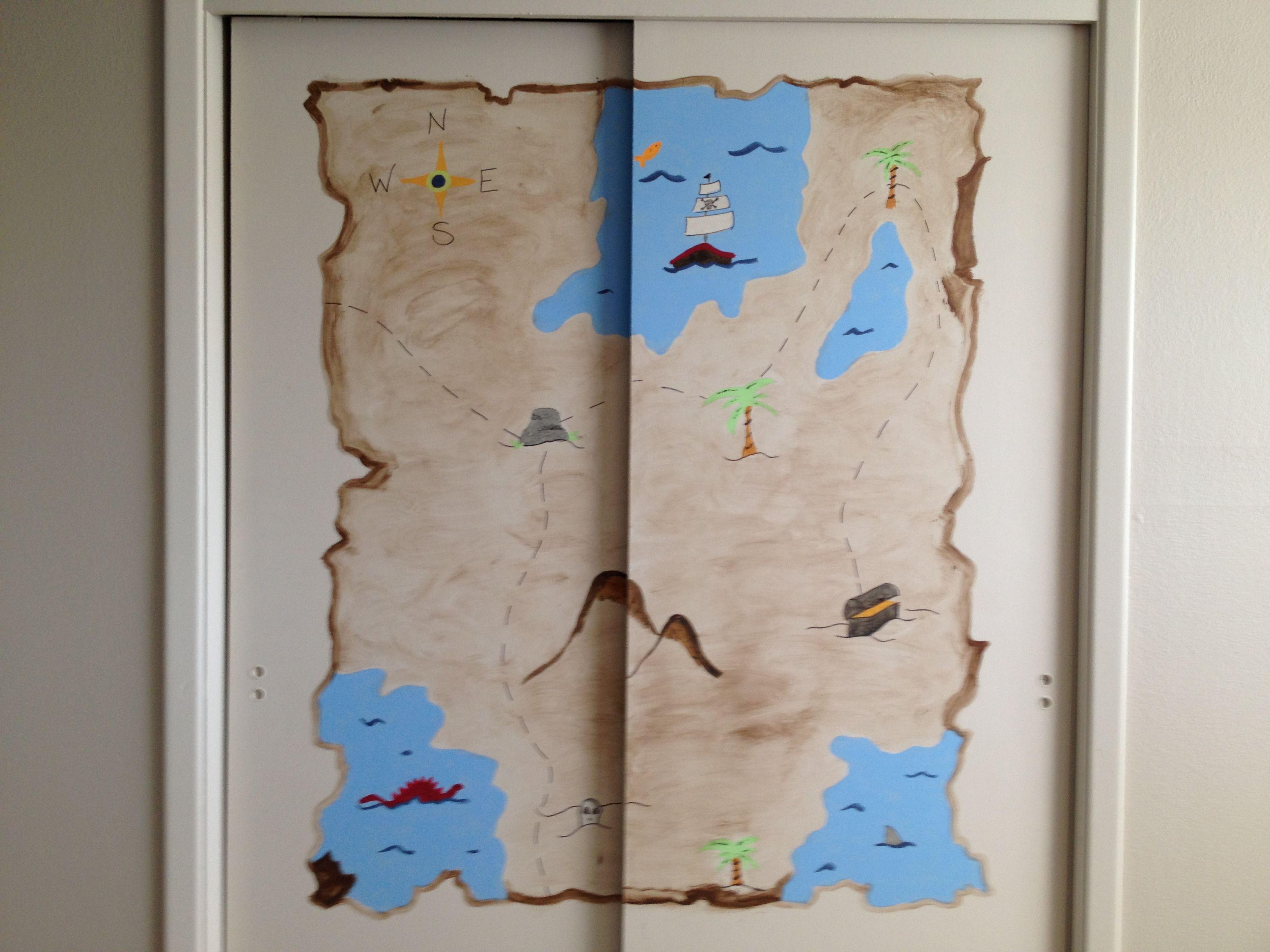Treasure map closet door mural Ideas for the kiddos