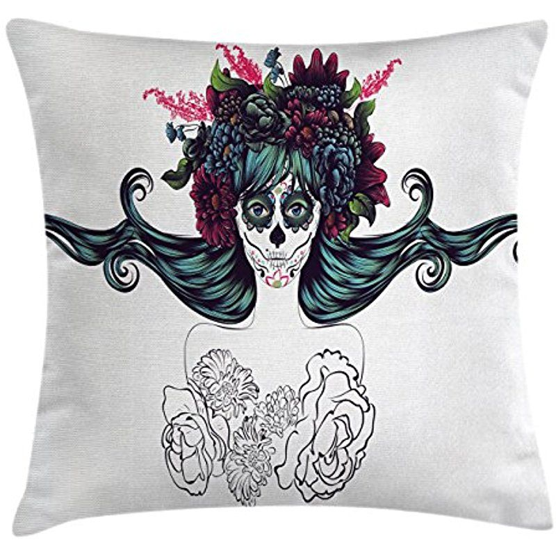 Girls Throw Pillow Cushion Cover By Lunarable Sugar Skull Girl Cool 36 Inch Square Pillow Cover