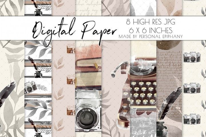 Journal Digital Paper, Watercolor Typewriter Cliparts, Scrapbooking By Personal Epiphany | TheHungryJPEG.com