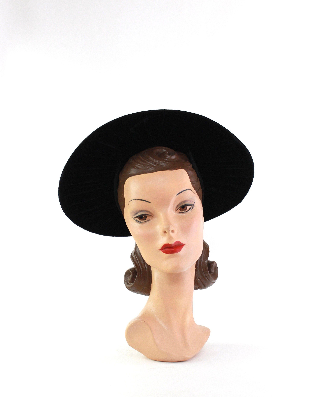 Vintage brown velvet baby bonnet 1950s