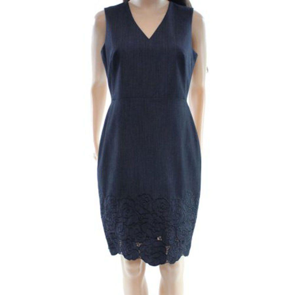 d51385f2 #DenimDress Calvin Klein Women's Petite V-Neck Floral Lace bottom Sheath  Dress Denim Blue