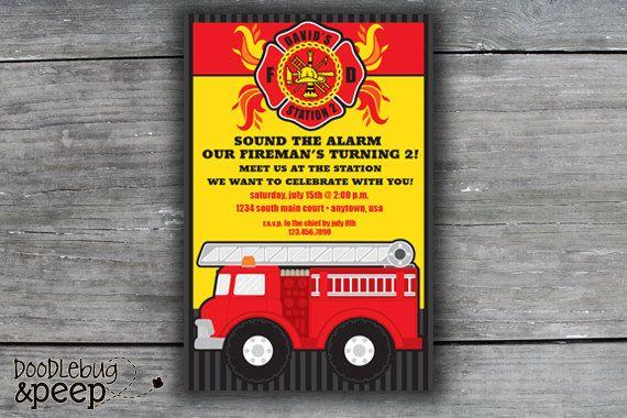 Fire Truck Fireman Birthday Invitation 1200 via Etsy