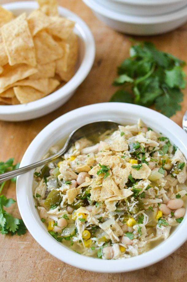 Slow Cooker White Chicken Chili #whitechickenchili