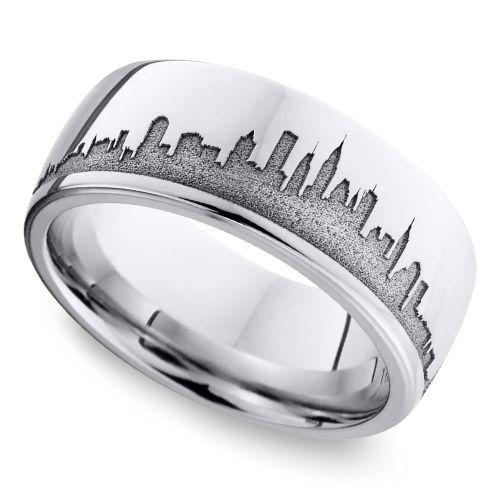 New York Skyline Men's Wedding Ring in Cobalt | Image 01