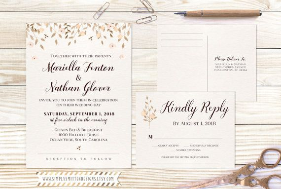Watercolor Leaves Collection DIY Printable Wedding Invitations Set - free printable wedding rsvp cards