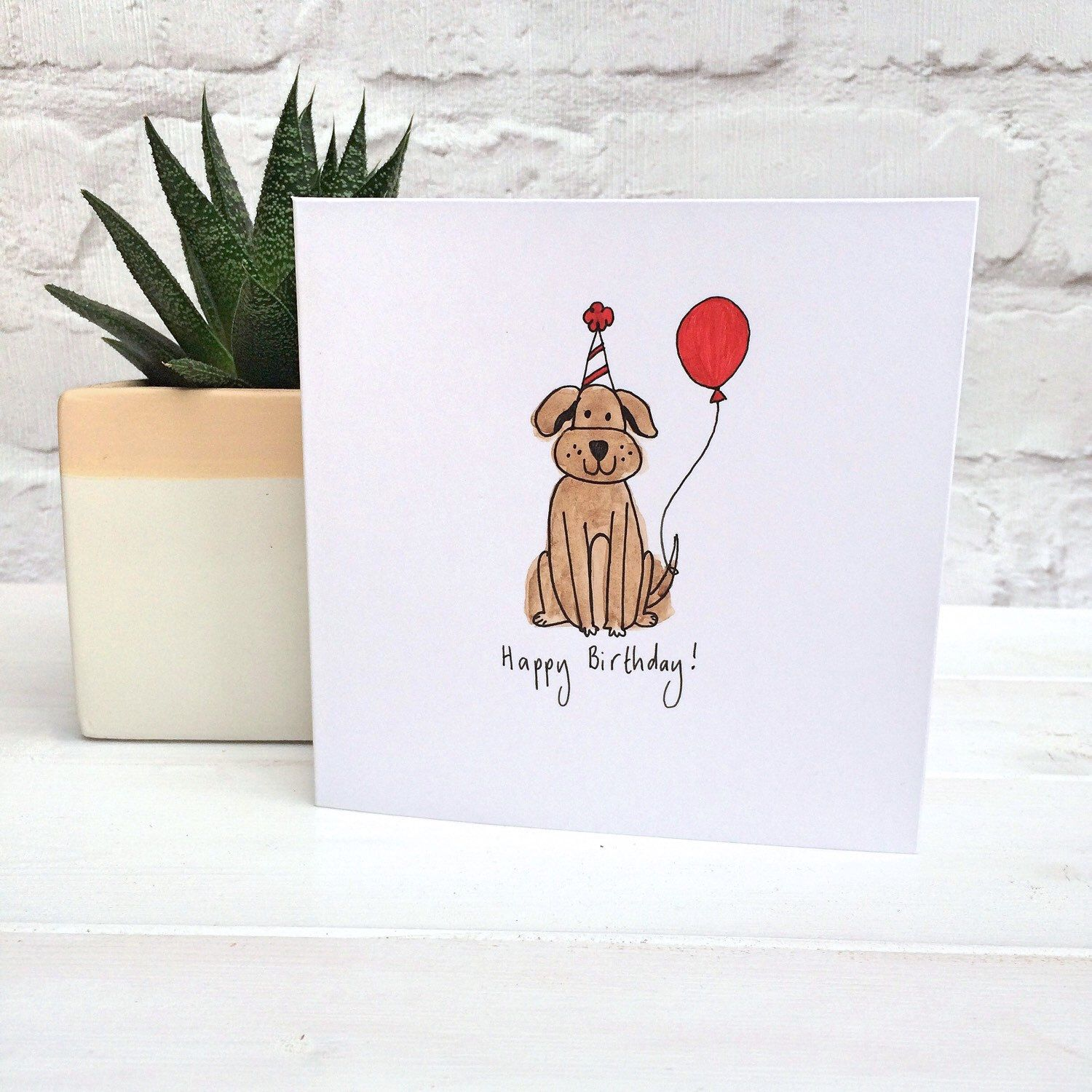 Dog birthday card with red balloon from my Etsy shop https – Birthday Card Shop