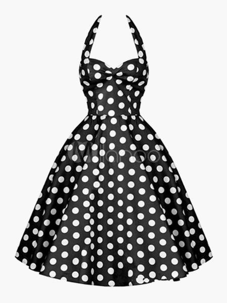 Vintage Black Dress 1950s Pin Up Dress Polka Dot Halter Women Swing ... cddb7a0d9387