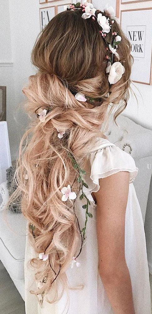 Bridal Hairstyle With Rose : Rose and babys breath flower crown new vintage media https