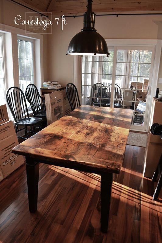Reclaimed Wood Harvest Table With Epoxy Polyurethane Finish Ontario Barnwood Cambridge On By Harvest Dining Table Wood Dining Room Table Barnwood Dining Table