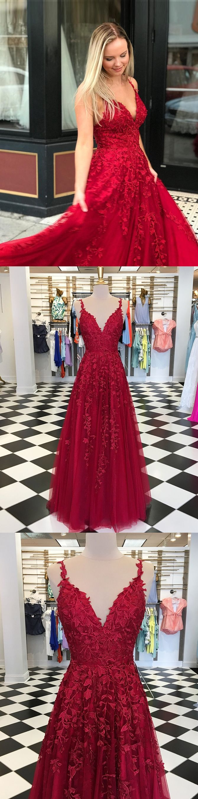 Aline spaghetti straps floorlength red prom dress with appliques