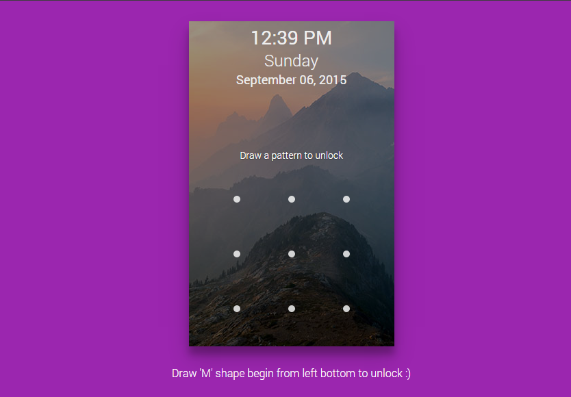 Lock screen is based on HTML, jQuery and CSS that simulate