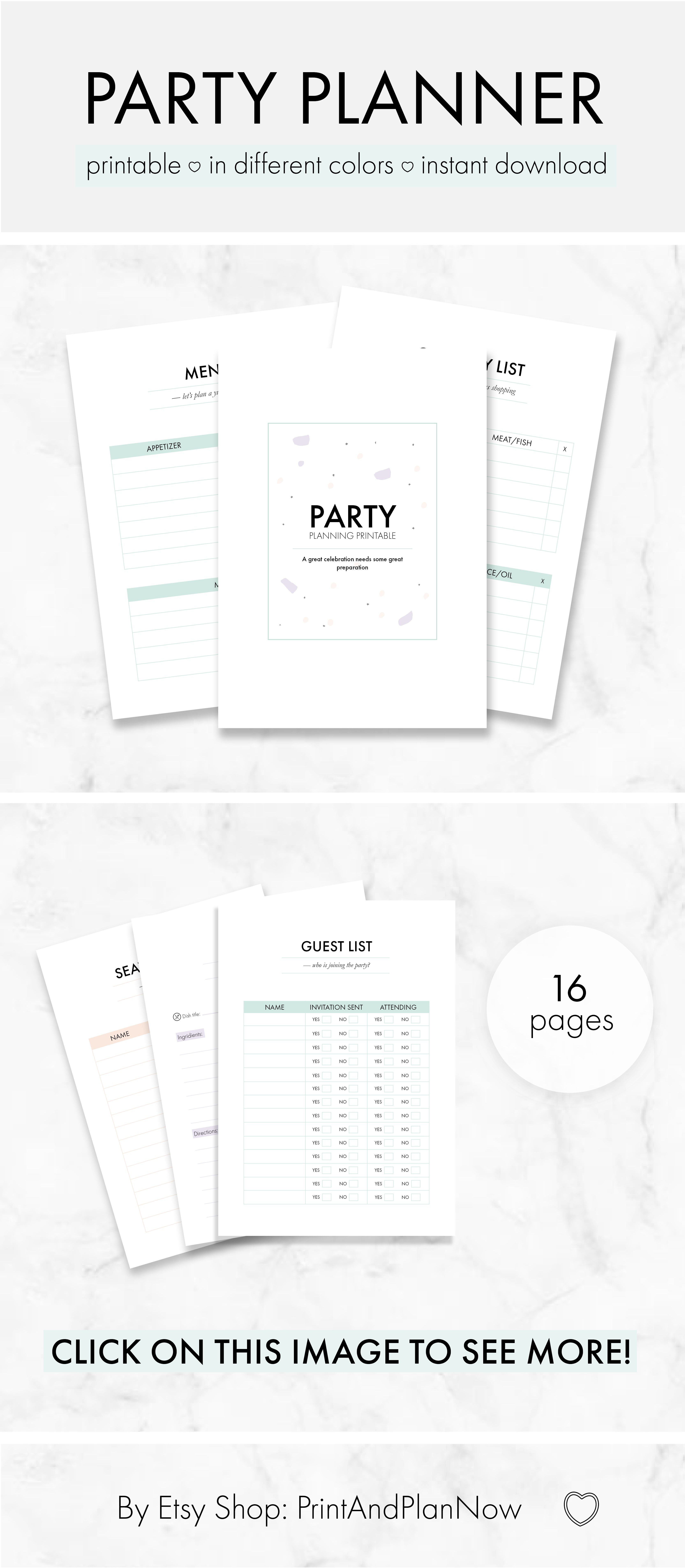 printable party planner pastel green a4 minimal party planning