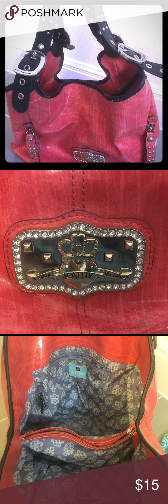 cc05fa4a76 Kathy Van Zeeland Coral Faux Leather Hobo Bag
