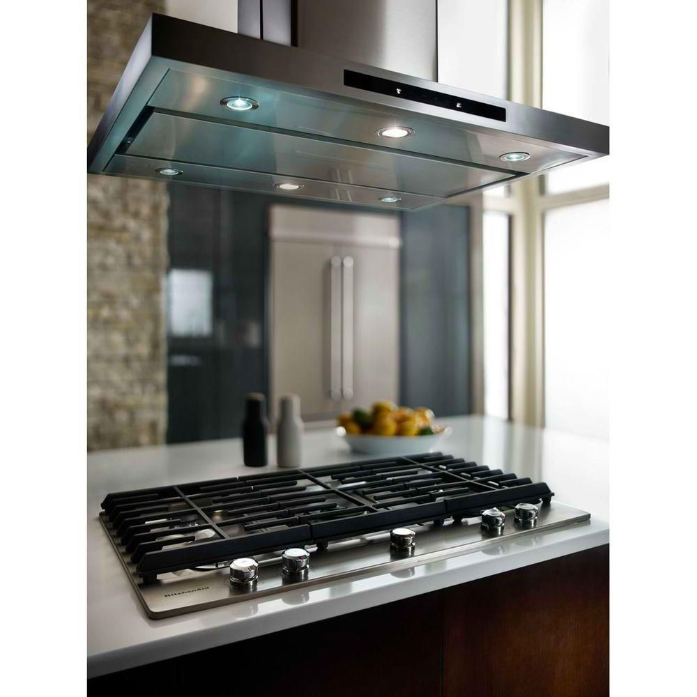 Kitchenaid 36 In Island Canopy Convertible Range Hood In Stainless Steel Kvib606dss The Home Depot New Kitchen Kitchen Design Cooktop