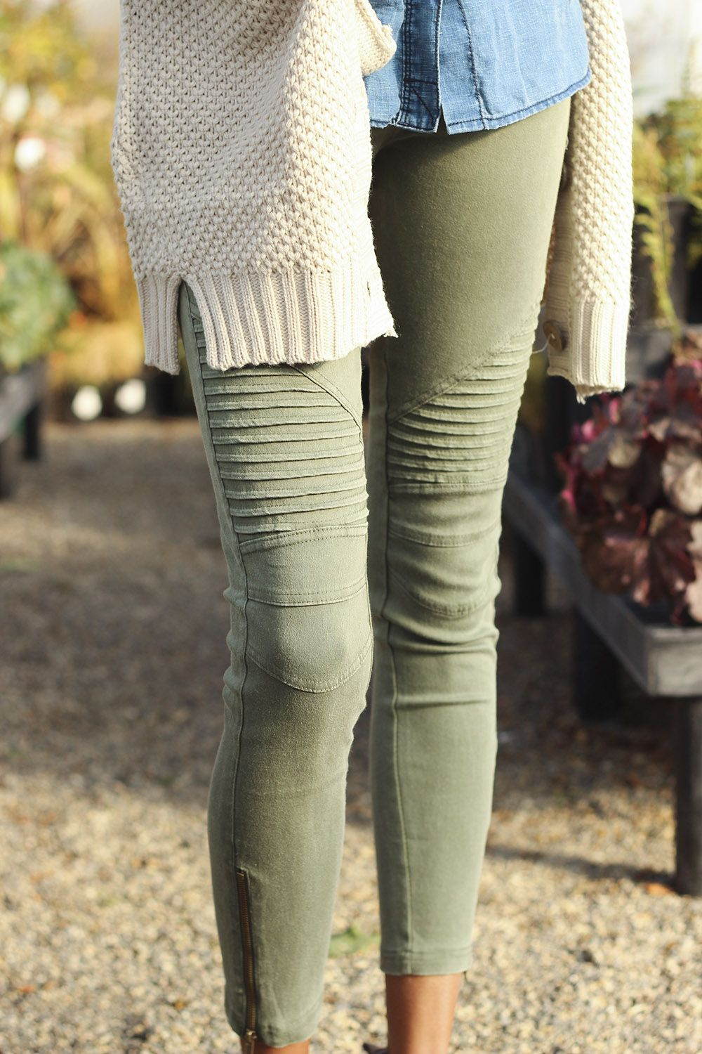 Moto jeggings - Google Search | Fashion | Pinterest | Olive skinnies Feminine and White sweaters