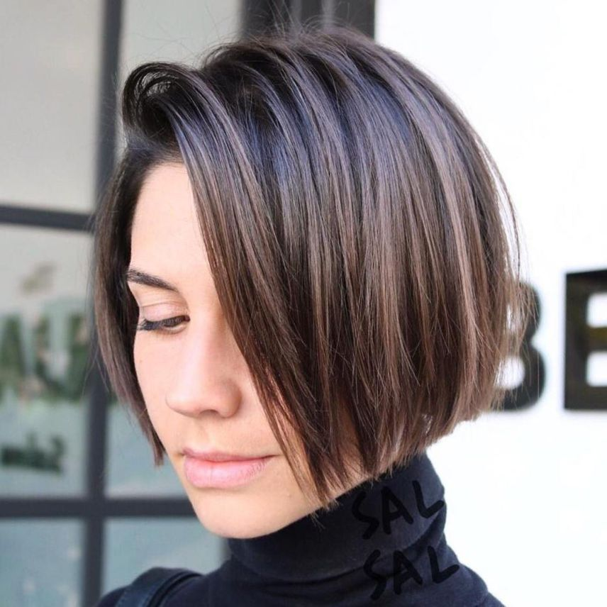 Jaw Length Side Parted Bob   Thick hair styles, Bobs for ...