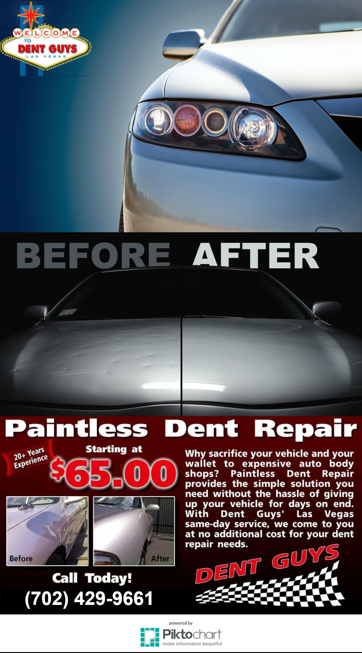 Dent Guys Las Vegas provides paintless dent repair, bumper
