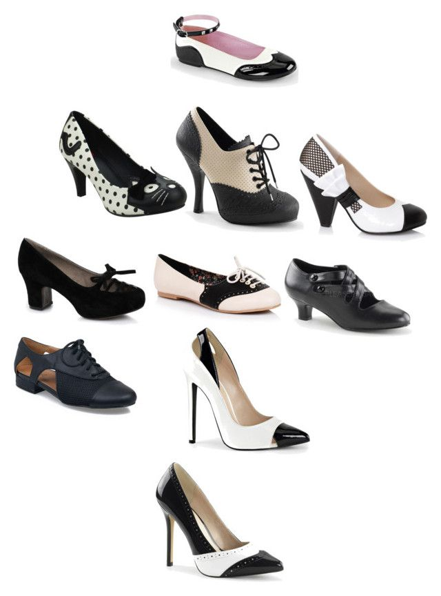 """Vintage Black & White Shoes"" by aheartforvintage ❤ liked on Polyvore featuring T.U.K., Ellie and vintage"