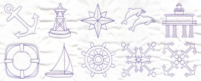 Nautical Quilting Embroidery Designs Anchor Buoy Compass