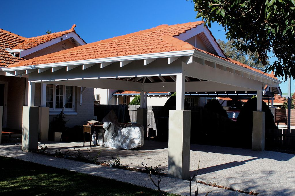 Double Timber Carport With Tiled Dutch Gable Roof Blue Sky Carpentry Perth Dutch Gable Roof Gable Roof Carport