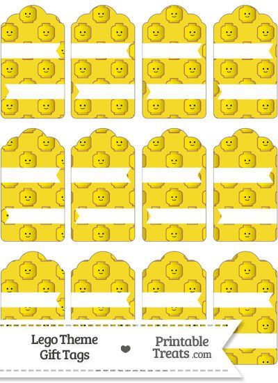 Yellow Lego Theme Gift Tags from PrintableTreats.com--- https://www.pinterest.com/printabletreats/lego-theme-printables/