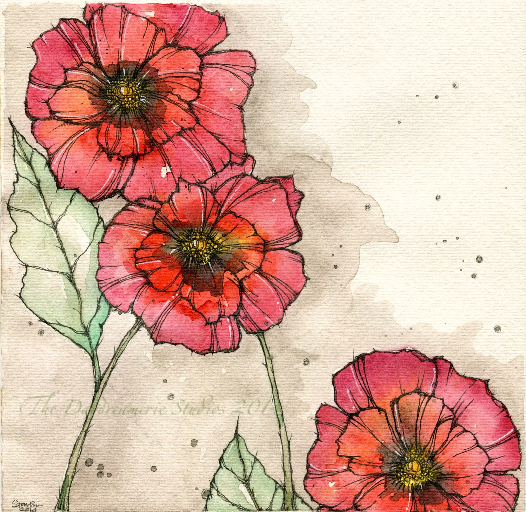 Red flowers. Watercolor and pencil. #thedaydreamerie